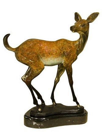 Little Deer Sculpture on Marble Base