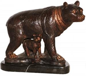 Mother and Baby Bear Bronze Sculpture - Tabletop