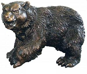 Walking Bear Figurine - Bronze