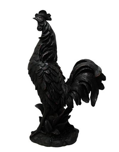 Black Rooster Statue