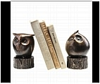 Owl on Stump Bookends
