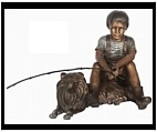 Bronze Boy with His Collie Dog Sculpture