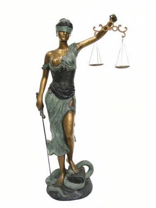 Life Size Blind Justice Statue with Scales and Sword