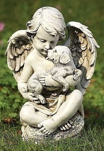Guardian Angel with Puppy Statue