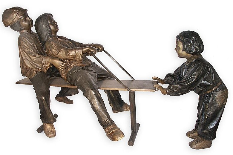 Boys Versus Girls Bronze Sculpture