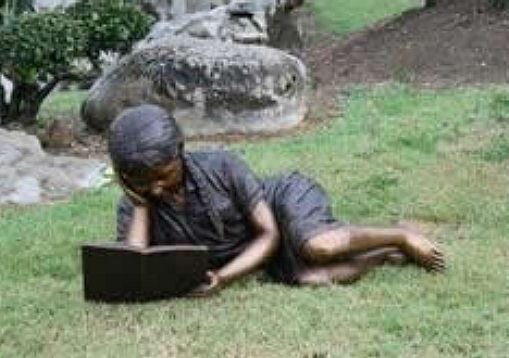 Reading Girl in the Garden Sculpture
