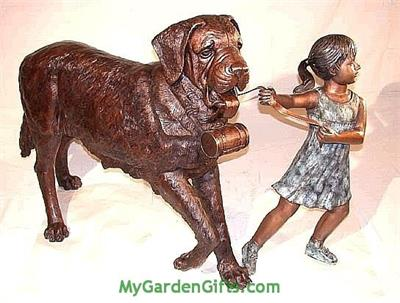 Girl Holding Large Saint Bernard - Bronze