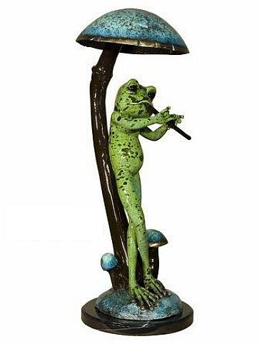 Bronze Frog with Flute Statue
