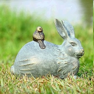 Bunny Rabbit and Bird Statue