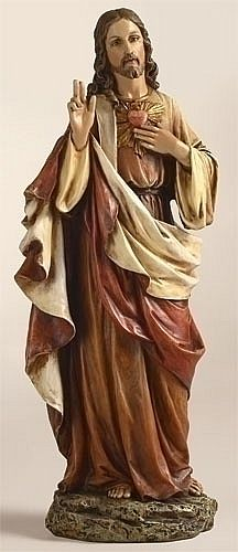Sacred Heart of Jesus in Color Sculpture