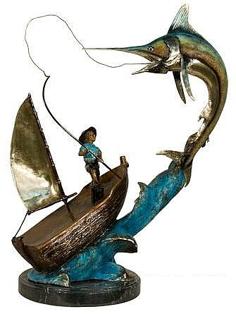 Bronze Marlin Fish Sculpture with Fisherman