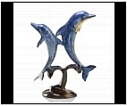Two Dolphins Jumping Sculpture