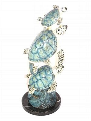 Sea Marine Turtles on a Wave - Bronze